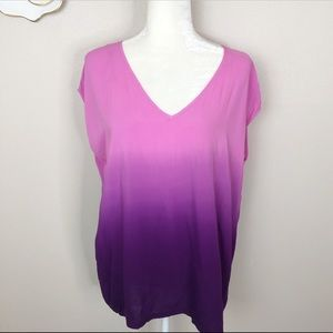Two by Vince ombré pink to purple v neck top